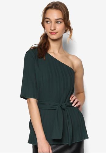 起褶繫帶單肩短袖上衣,esprit童裝門市 服飾, 服飾