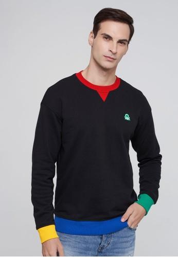 United Colors of Benetton black Clashing Sweatshirt 2D647AAD948604GS_1