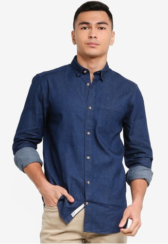 Only & Sons navy Troy Life Stretch Shirt 784FCAA6D5D91FGS_1