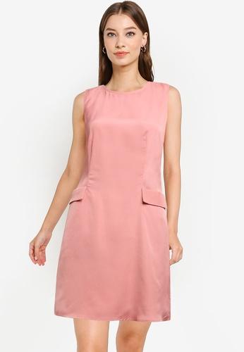 ZALORA WORK pink A-Line Faux Pocket Detail Dress 48843AA88130BEGS_1