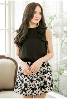 [IMPORTED] Forever Bloom Flounced Dress - Black