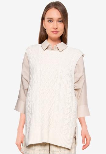 Heather white Back Ribbon Sweater Vest F83BFAA45BBCA1GS_1