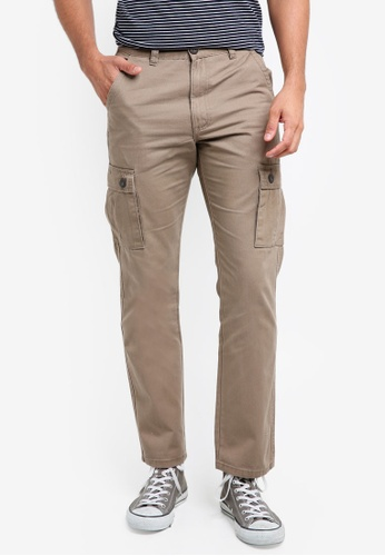 threads by the produce brown Solid Coloured Cargo Pants 50BAAAA0D1151BGS_1