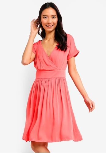 ZALORA pink Overlap Fit And Flare Dress 209FEAA1C57942GS_1