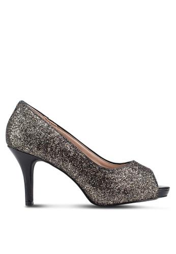Carlton London 灰色 閃亮魚口高跟鞋 0E328SH4750E98GS_1