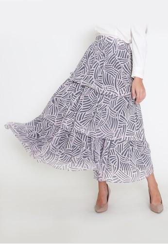MAMORA multi Mamora Grey Maxi Skirt 0A602AAB643B53GS_1