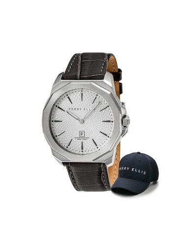 Perry Ellis brown Perry Ellis Decagon Men 46mm Quartz Watch 05007-01 with Perry Ellis Cap A589EACF88F762GS_1