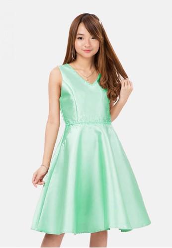 The Pink Label green Taffeta Pearl Mini Dress in Tosca 6DE29AAB4CA013GS_1