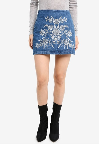 TOPSHOP blue Moto Embroidered A-Line Skirt TO412AA0SZ6PMY_1