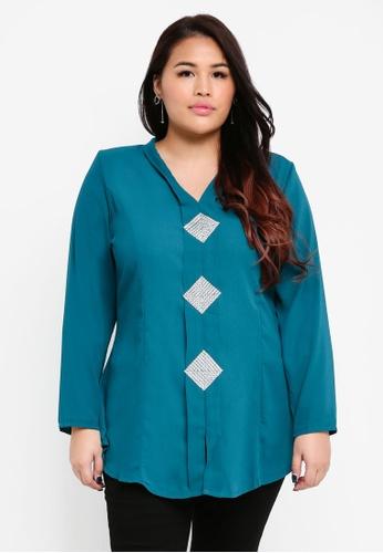 BYN green Plus Size Kebaya Top B013AAAEB2EB07GS_1