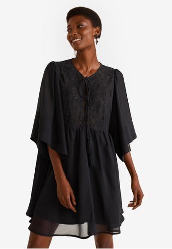 Mango black Pompons Embroidered Dress 7F006AAE8247EFGS_1