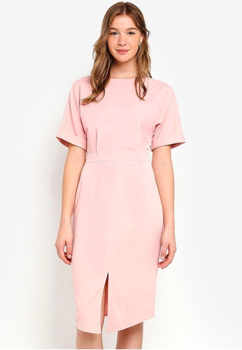 ZALORA BASICS pink Basic Drop Shoulder Dress EEFA8AAEF54FC1GS_1