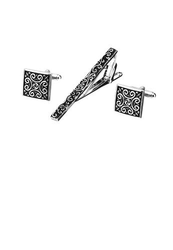 Glamorousky 銀色 時尚復古黑色花紋幾何領帶夾和袖扣套裝 5F86AAC72570E8GS_1