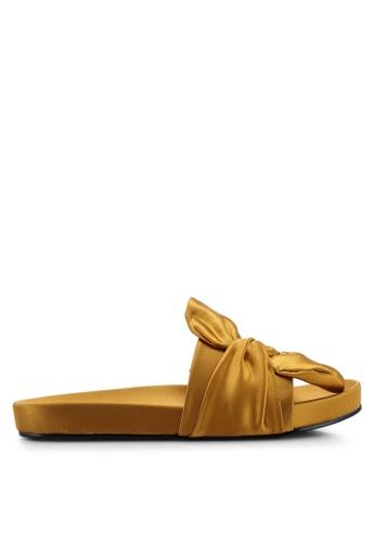 NA-KD 金色 Knot 綢緞拖鞋 C6666SH6C80F28GS_1