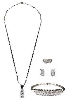 Horizontal Stone Studded Jewelry Set with FREE Ring