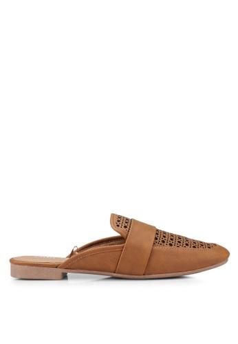 Rubi 褐色 雕紋穆勒鞋 ECABASH203238CGS_1