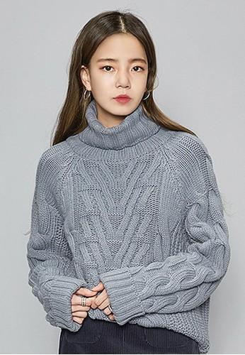 編織圖案高領針織zalora 台灣上衣, 服飾, 毛衣& 針織外套