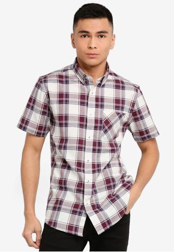 Burton Menswear London 紅色 短袖格紋襯衫 15661AA7C344FDGS_1