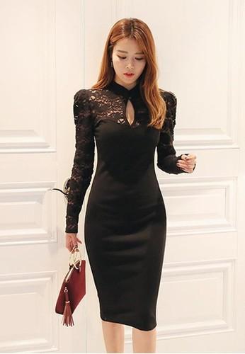 蕾esprit investor relations絲拼接緊身連衣裙, 服飾, 洋裝