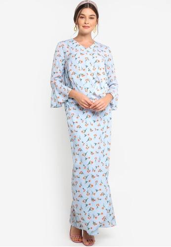 Lubna blue Pleat Top With Bell Sleeve Kurung B6B98AA8C21B45GS_1