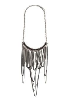 【ZALORA】 銀黑色鏈飾流蘇項鍊