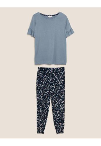 MARKS & SPENCER blue M&S Frill Sleeve Floral Cuff Pant Pyjama Set 11347AA7B5DA76GS_1
