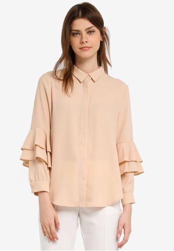 Zalia brown Layered Sleeve Shirt 976E0AA147A939GS_1