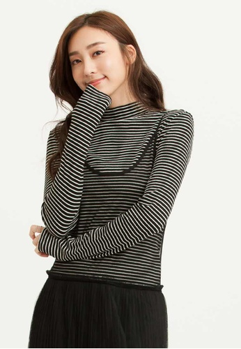 H:CONNECT black Half Neck Rib Knit T-Shirt E2F93AAB7CEE01GS_1