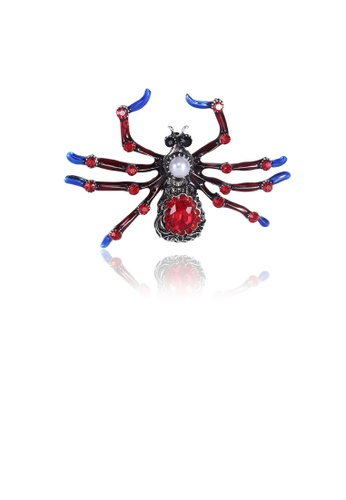 Glamorousky red Fashion Personality Spider Imitation Pearl Brooch with Red Cubic Zirconia 6A18FACF23E17BGS_1