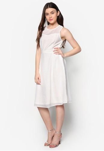 格紋薄紗拼接zalora 台灣及膝洋裝, 服飾, 洋裝