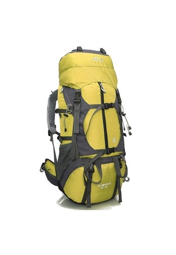 Local Lion Local Lion Steel Frame Water Resistant Hiking Backpack 65L  (Yellow) Free Rain 7a752f88c
