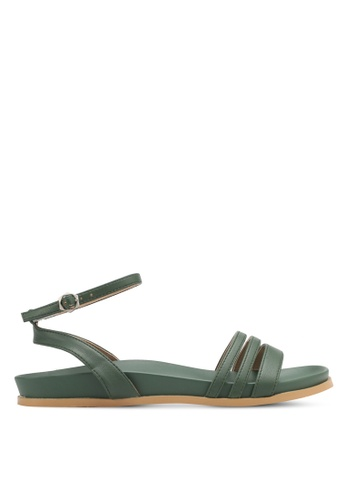 Something Borrowed green Double Strap Footbed Sandals 47B81SHF14488AGS_1