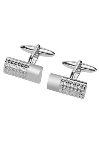 CUFF IT silver Semi-cylinder Textured Cufflinks 6F0A8ACB4AD33BGS_1
