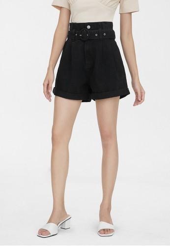Pomelo black Paper Bag Belted Denim Shorts - Black 81509AA6AB721BGS_1