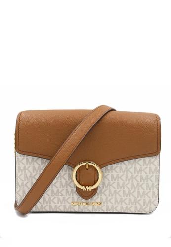 Michael Kors beige Michael Kors Wanda Medium Signature Crossbody Bag - Vanilla CA885AC649172DGS_1