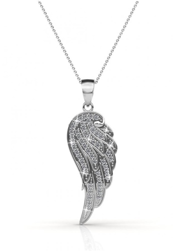 Her Jewellery silver Swarovski® Crystals - Angel Wing Pendant (18K White Gold Plated) Her Jewellery HE581AC90JVHMY_1