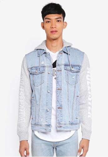 Hollister blue Hooded Denim Jacket 878B7AA6190615GS_1