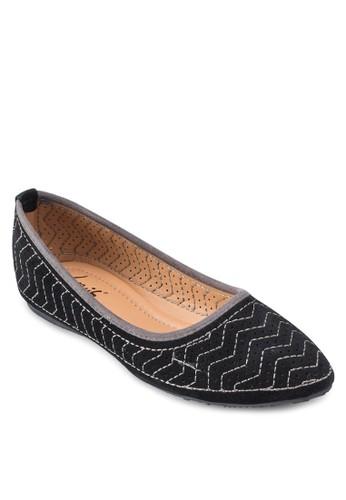 刺esprit 見工繡印花平底鞋, 韓系時尚, 梳妝