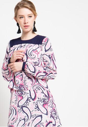 Bateeq pink Long Sleeve Paisley Blouse BA656AA56ZTZID_1