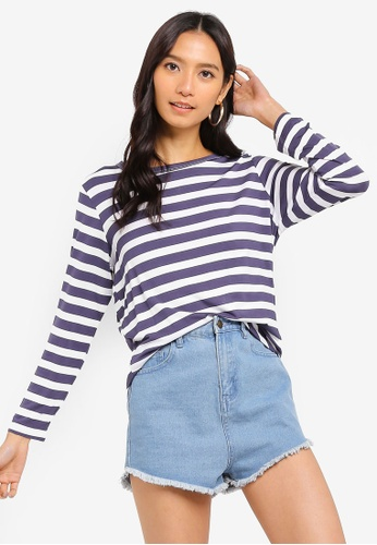 Cotton On white and navy Kathleen Long Sleeve Top E1CF6AAFDE1713GS_1