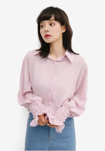 Shopsfashion pink Pleated Cuff Blouse 29CBDAA2F7A1AAGS_1