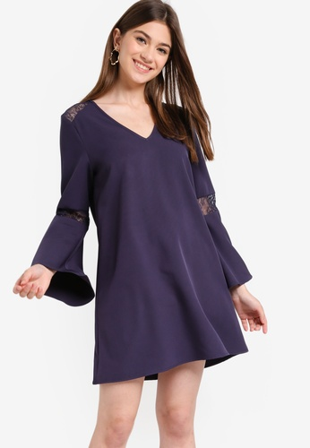 Something Borrowed navy Lace Panel Flare Sleeves Dress 1D01CAAA575EE8GS_1