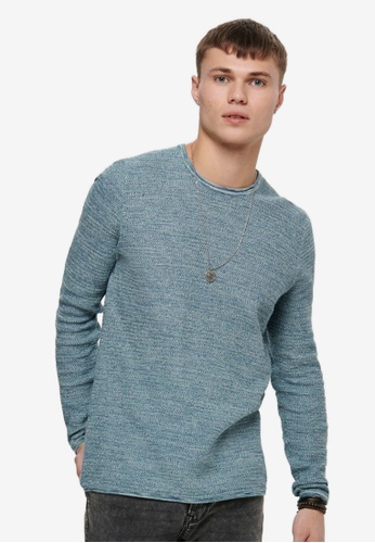 Only & Sons blue Wictor Life Structure Crew Sweater 19E37AA607FC2AGS_1
