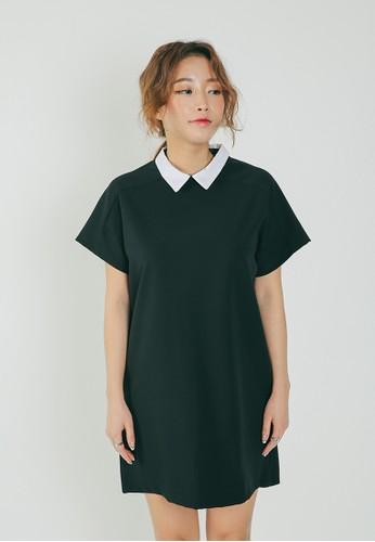 韓時尚撞色領短袖洋裝, 服飾,esprit高雄門市 洋裝