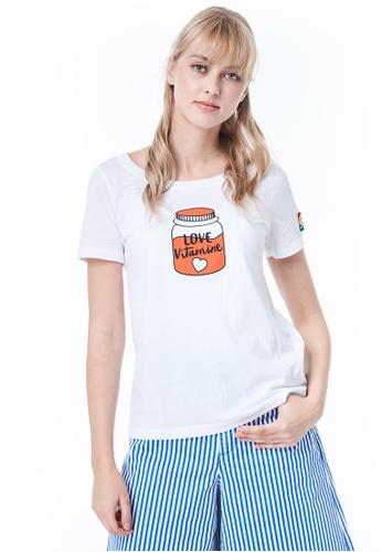 United Colors of Benetton white Printed T-shirt 682EBAA4E7E3B7GS_1