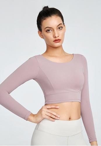 B-Code 紫色 ZWG1111-女士時尚瑜珈運動健身上衣-紫色 47D20AACA611D6GS_1