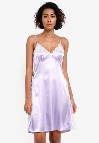 Impression purple Satin Nightdress IM679AA0RTZHMY_1
