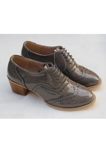 Sunnydaysweety grey Women Carved Retro Leather  High-heeled Oxford Shoes C101895 SU443SH01HPMHK_1