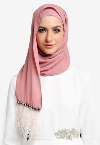 Ilham Echenta for ZALORA pink Aulia Chiffon Feathers Hijab IL554AA49ABEMY_1