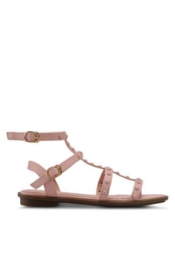 Nose pink Round Stud Ankle Strap Sandals 66468SH7B5BC54GS_1